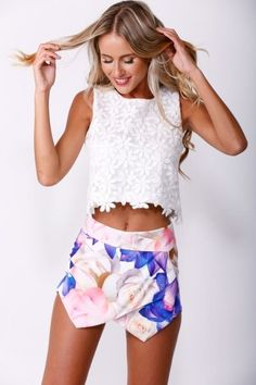 Lovely Spring Outfit. Floral Shirts and White Light Top!