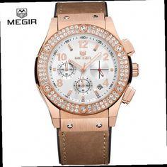 53.98$  Buy now - http://aliug8.worldwells.pw/go.php?t=32770510336 - Megir Fashion Waterproof Chronograph Stopwatch for Lovers Women's Luxury Leather Men Analog Strap Quartz Bracelet Watches Calend 53.98$
