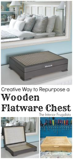 A Creative Way To Repurpose A Wooden Thrift Store Flatware Chest that is masculine enough for your manh to use as a catch-all box.