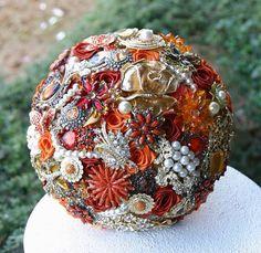 Deposit on made to order Heirloom Broach Bouquet Broach Bouquet, Wedding Brooch Bouquets, Bride Bouquets, Burnt Orange Weddings, Orange Wedding Colors, Peach Weddings, Free Wedding Catalogs, Brooch Display, Lakeside Wedding