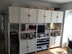 Amazing Wood Wall Unit & Entertainment Center made with Ikea Ivar cabinets