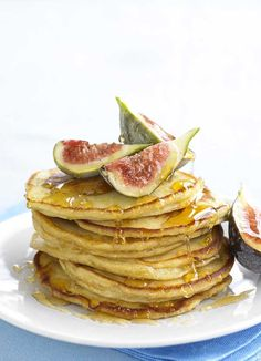 Ricotta pancakes are wonderful – fluffy and light with meltingly soft insides. Here they are served with honey and figs for a dessert, but they are also great for breakfast with fresh berries or butter and maple syrup.