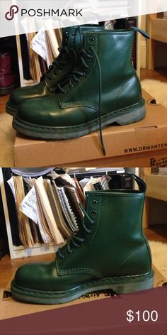 New Limited edition All Green Doc Marten Boots Limited edition all green doctor martens directly from the factory store in england!!  1460 Mono boots in green. Tried on but never worn outside.   No tags/ box due to fitting them into checked luggage....These were bought for me on request by a friend who visited the original DM store in Northampton, UK, but unfortunately are a size too big.  Unisex/ US women's 10 / US men's 8/ UN 7.  Great for everyday use, rainboots, colorblocking. Dr…
