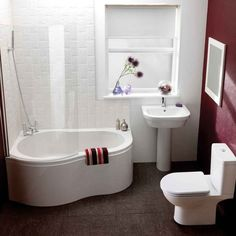 Accessories and Furniture. Marvellous Bathtub Idea with Curve Shape and Glass Partition with Fibreglass Material and Rain Shower  with Stainless Steel Material Plus White Washbasin with Fiberglass Material plus Mirror with White Frame on Red Wall Accent. Bathtub for Small Bathroom Ideas