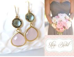 Perfect pair of earrings for a pink and grey wedding theme! Blush Pink and Grey #Wedding Jewelry by #LoveShineBridal, $29.00 #Bridesmaids