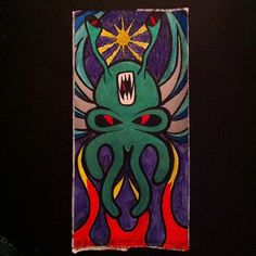 Alien Skullyfish  #skullyfish #alien #flames #fangs #artist #art #slaps #stickers #labels