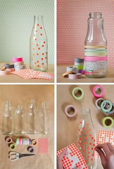Spotty / washi tape glass jars - cute for center pieces Easy Crafts, Diy And Crafts, Paper Crafts, Washi Tape Crafts, Masking Tape, Bottle Crafts, Glass Jars, Diy For Kids, Diy Gifts