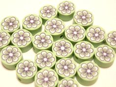 20 Fimo Polymer Clay Round Flat Beads Colorful Green Yellow  Flowers  10mm. $3.99, via Etsy.