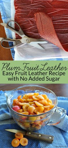 Plum Fruit Leather with No Refined Sugar My easy homemade fruit leather recipe uses wild plums and apples to make a delicious fruit leather with no refined sugar. It can be made with many fruits! Fruit Snacks, Fruit Recipes, Healthy Snacks, Healthy Recipes, Snacks Kids, Jar Recipes, Food Kids, Freezer Recipes, Freezer Cooking