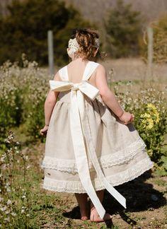 Linen Knot Dress for Girls. Rustic Flower Girl Dress.