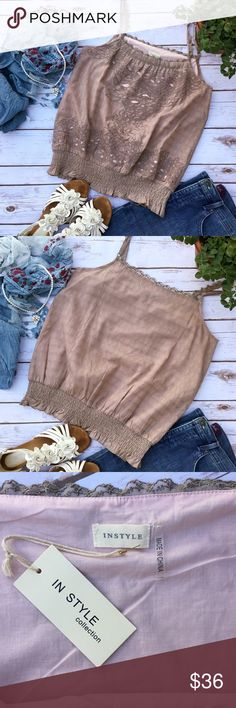 Romantic Dusty Rose Smocked In Style Top Very cute top, ideal with jeans or lacy shorts. Measures 18 inches from armpit to armpit and about 26 inches in length. Straps are adjustable. 100% cotton, size L. In Style Tops