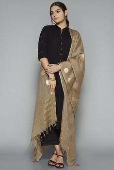 Best 11 Utsa by Westside Beige Chanderi Silk Dupatta – SkillOfKing. Silk Kurti Designs, Churidar Designs, Kurta Designs Women, Kurti Designs Party Wear, Blouse Designs, Indian Attire, Indian Outfits, Indian Wear, Different Suit Styles
