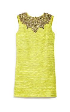 Embellished Metallic Weave Shift Dress by Marchesa