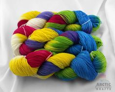 Butterfly Effect hand dyed 100% superwash Polwarth by Arctickrafts