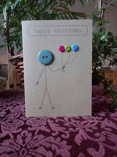 Birthday card made with buttons and brown Kraft card cute simple design to craft last minute handmade art Handmade Birthday Cards, Happy Birthday Cards, Greeting Cards Handmade, Diy Birthday, Birthday Design, Card Birthday, Birthday Gifts, Button Cards, Bday Cards