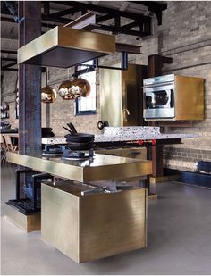 kitchen brick brass Tom Dixon copper pendants via @Mimosa Lane