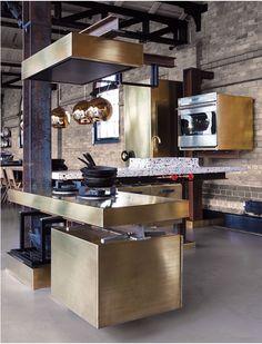 kitchen brick brass Tom Dixon
