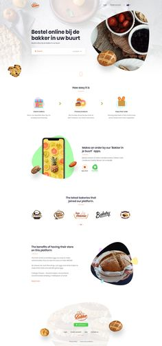 Bakery website home page landing design web design ui ux food restaurant catering full