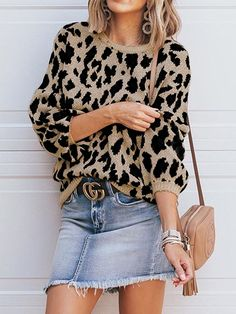 ff741767fd Talever Leopard Patter Round Neck Long Sleeves Casual Knit Sweater | Talever