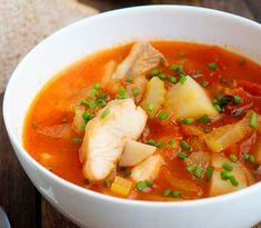 Томатный рыбный суп на курином бульоне