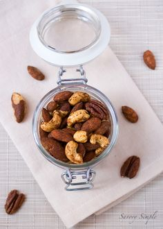 These pumpkin spiced cocktail nuts are perfect for fall parties or as an easy to prepare snack!