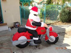 Christmas Santa Claus Motorcycle Chopper Airblown Inflatable Animated