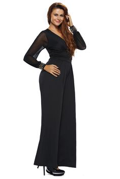 Buy Women's Embellished Cuffs Wide Leg Long Mesh Sleeves Party Cocktail Formal Jumpsuit Rompers Pants - Black - and Others Best Selling Women's Rompers with Affordable Prices Formal Jumpsuit, Mesh Jumpsuit, Jumpsuit With Sleeves, Black Jumpsuit, Black Pants, Rompers Women, Jumpsuits For Women, Junior Fashion, Mesh Long Sleeve