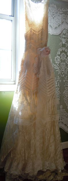 Boho Wedding Dress ivory crochet lace fringe vintage bride outdoor  romantic small by vintage opulence on Etsy