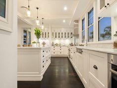 50 Best Modern Kitchen Design Ideas - The Trending House Wooden Kitchen Floor, Kitchen Flooring, Dark Flooring, Flooring Ideas, Dark Wooden Floor, Hallway Flooring, Narrow Kitchen, Carpet Flooring, Beautiful Kitchen Designs