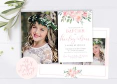 LDS Baptism Invitation | LDS Baptism Invitation Girl | Floral Watercolor Baptism Invitation | LDS Baptism | Baptism Invitations Girl | Corjl Baptism Program, Baptism Invitations Girl, Gold Invitations, Floral Invitation, Christmas Card Template, Christmas Photo Cards, Holiday Cards, Lds, Baptism Announcement