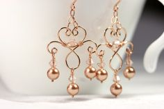 Rose Gold Chandelier Earrings Wire Wrapped por JessicaLuuJewelry