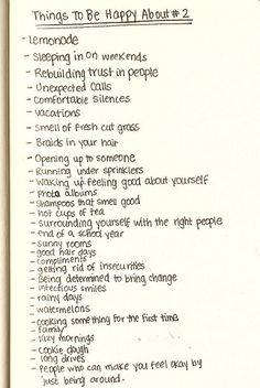 Everyone should have to write a list like this at least once a week