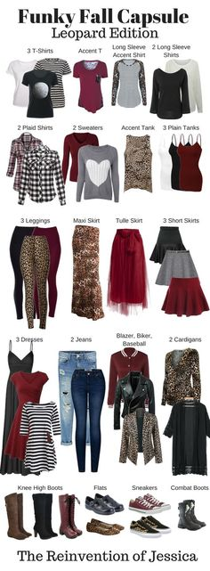 The perfect fun and funky capsule wardrobe featuring leopard print accents!  Just because you're a mom doesn't mean you have to dress like one!  Click through for all the details!  Fall Capsule Wardrobe - Leopard Print