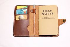 field note wallet cover leather Made in France by OakCreationCuir