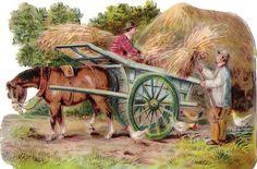 Oblaten Glanzbild scrap die cut chromo Pferd horse Getreide Heu hay Stroh