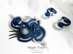 Royal blue statement soutache set dark blue cuff hand