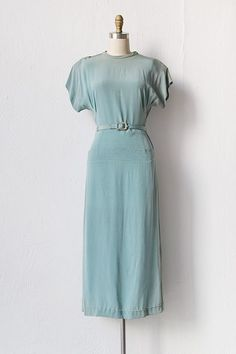 vintage 1940s blue rayon belted dress | Across the Lake Dress