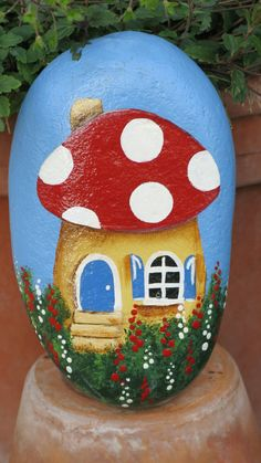 Painted garden cottage rock yard decoration by MyPaintedSwan