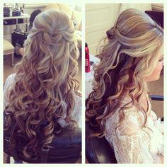 wedding hair, half up half down hair