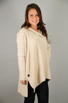 Oatmeal Long Sleeve Hooded Poncho Sweater. Perfect with leggings and a cup of hot chocolate! ;)