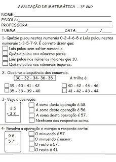 PROVAS TESTES AVALIAÇÕES 3° ANO ATIVIDADES PARA IMPRIMIR VIII Provas - Testes - Avaliações - 3° ano fundamental Português - Nat...