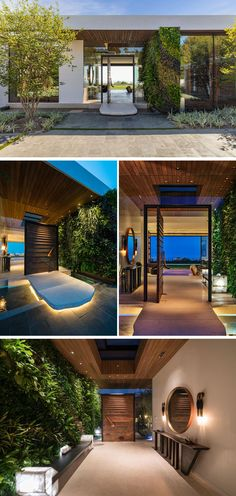 A solid limestone bridge that's suspended over a reflecting pool leads to this modern, custom-designed pivoting front door with an acid wash copper finish. A 14 foot high green wall starts on the exterior of the house and travels through to the foyer. Door Design, Exterior Design, Interior And Exterior, Modern Tropical House, Modern House Design, Style At Home, Residential Architecture, Interior Architecture, Casa Patio
