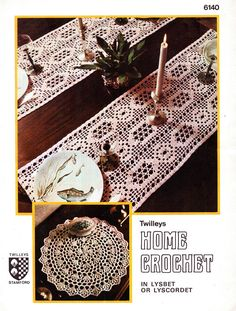 Genuine Vintage Twilleys Pretty Lyscordet Filet Lace Table Runner and Ultra-Lacy Table Centre Doily Crochet Pattern Filet Crochet, Crochet Motif, Crochet Doilies, Knit Crochet, Vintage Knitting, Vintage Crochet, Lace Table Runners, Wedding Crafts, Victorian