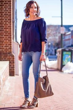 Eyelet Off-the-Shoulder Top Outfit with Lace-Up Block Heel Sandals in partnership with Lucky Brand