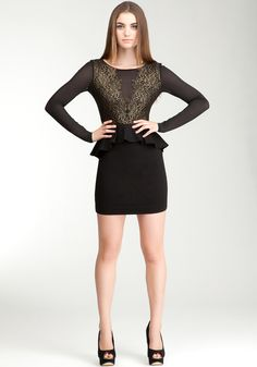 Lace Trim Sheer Ponte Dress, Style 3203022,  black/gold, 68% rayon, 27% sheer, 5% spandex