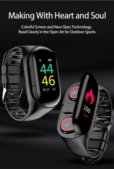 Wireless Bluetooth Headset & Smart Bracelet] - Combination of true wireless earbuds and fitness tracker Watch. Not only a smart bracelet but also a noise-canceling Bluetooth Headset, it reduc. Mens Sport Watches, Watches For Men, Latest Watches, Women's Watches, Wrist Watches, Android 4.4, Android Hacks, Fitness Watches For Women, Wireless Bluetooth