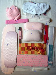 The many parts that go into wearing a Kimono, not including the Kimono & under layers themselves!