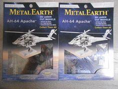 (2) Fascinations Metal Earth Boeing AH-64 Apache Helicopter 3D Metal Model Kits…