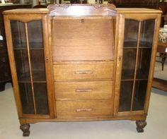 Antique Oak Double Bookcase Drop Front Secretary Desk Combo Old Finish