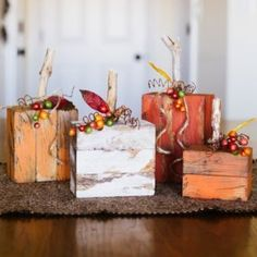 Im so excited to make some Fall decorations for my house! I absolutely love Autumn. I wanted a cute new centerpiece for my kitchen table so I decided to do a new spin on the stacking pumpkins. Heres how I did it: What you will need: Stacking Pumpkins 2 Fall Wood Crafts, Wood Block Crafts, Autumn Crafts, Pumpkin Crafts, Thanksgiving Crafts, Holiday Crafts, Holiday Fun, Wood Blocks, Wooden Crafts